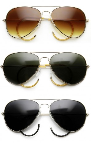 Classic Teardrop Curl Arm Cable Temple Metal Aviator Sunglasses