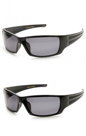 Polarized Sports Action Wraparound Modern Rectangular Sports Sunglasses