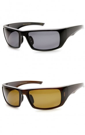 Polarized Lens Action Sports Brilliant Black Sports Wrap Sunglasses