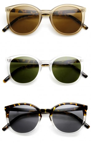 Frosted Two-Toned P3 Keyhole Bridged Retro Round Sunglasses