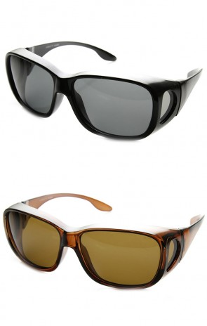 Large Polarized Wrap Side Lens Fully Protected Square Fit Over Sunglasses