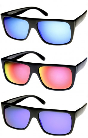Modern Action Sports Flat Top Flash Color Mirror Lens Sunglasses