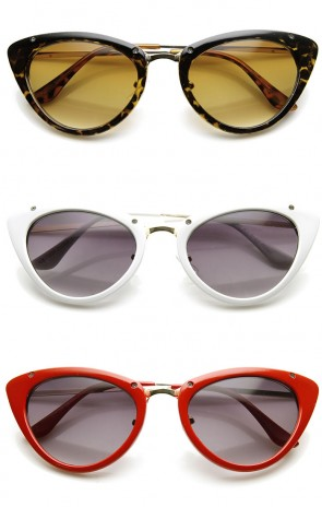 Womens Mod Fashion Metallic Temple Retro Cat Eye Sunglasses