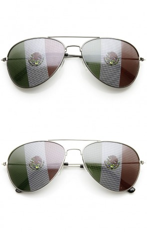 Classic Metal Aviator Mexican Flag Lens Novelty Sunglasses