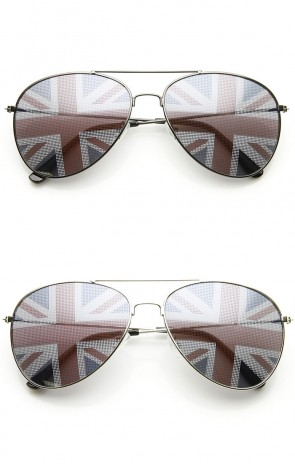 Classic Metal Aviator Great Britain UK British Flag Novelty Sunglasses