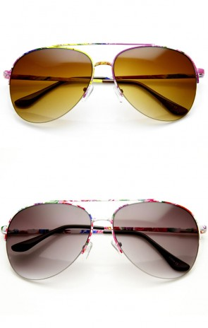 Large Colorful Floral Print Semi-Rimless Metal Aviator Sunglasses