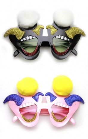 Laughing Jester Circus Clown Smile Furry Novelty Party Glasses