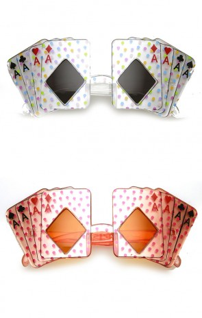 Card Shape Aces Four of A Kind Poker Party Novelty Las Vegas Sunglasses