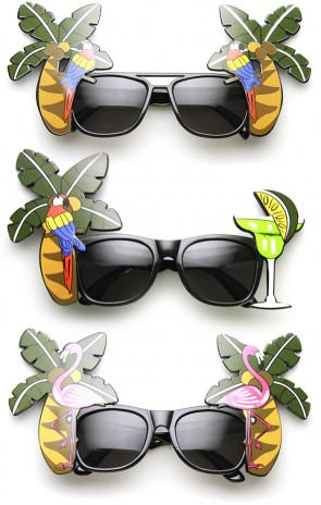 Palm Tree Parrot Cocktail Fancy Luau Party Novelty Sunglasses