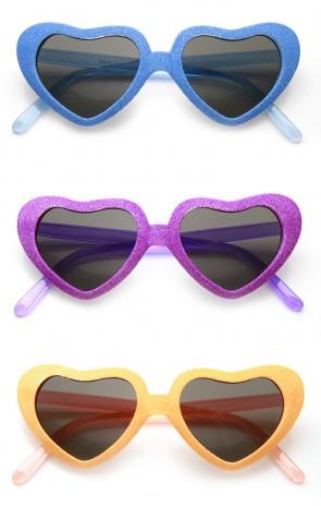 Super Oversized Heart Shape Colorful Glitter Party Novelty Sunglasses