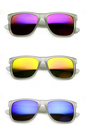 Action Sports Square Color Mirror Flash Lens Active Horn Rimmed Sunglasses