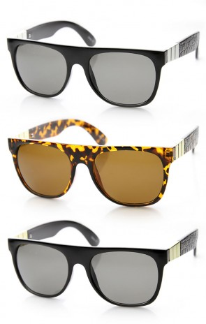 Retro Metal Accent Faux Leather Temple Flat Top Sunglasses