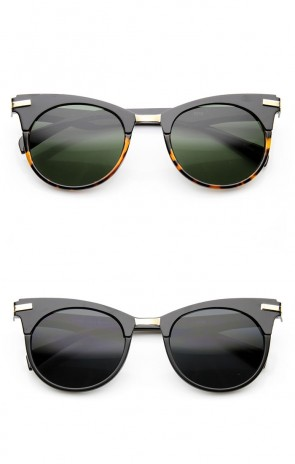 Retro Mod Fashion High Temple Riveted Round Cat Eye Sunglasses