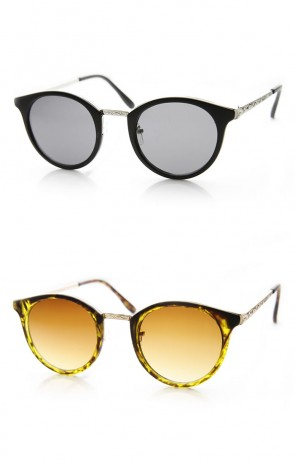 Classic P-3 Metal Temple Horn Rimmed Thin Round Sunglasses