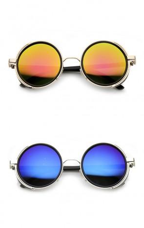 Side Shield Studio Cover Color Flash Mirror Lens Round Sunglasses