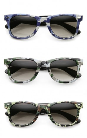 Unisex Camoflauge Print Active Horn Rimmed Sunglasses