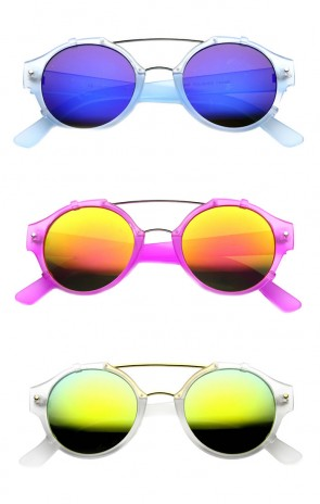 Frosted Round Double Bridge Flash Mirror Aviator Sunglasses