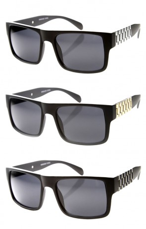 Retro Fashion Watch Link Temple Flat Top Square Sunglasses