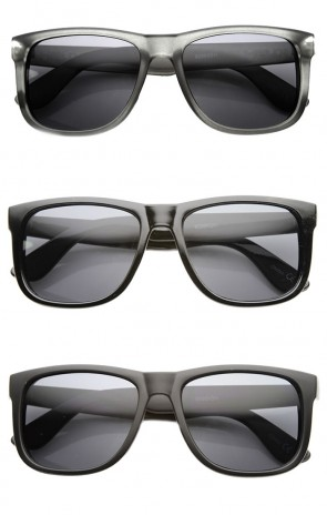 Mens Retro Large KUSH Brand Plastic Horned Rimmed Sunglasses