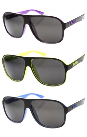Mens Flat Top Plastic Neon Two-Toned Aviator Sunglasses