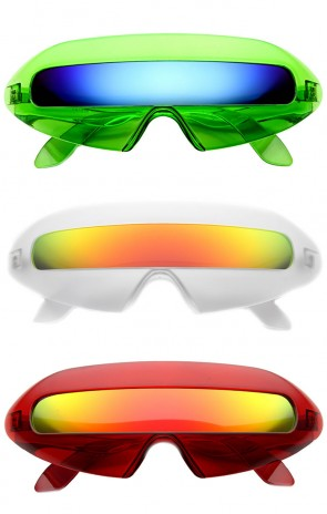 Retro Futuristic Cyclops Color Mirroed Lens Wrap Around Sunglasses