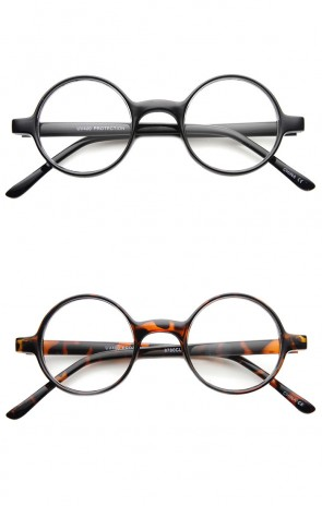 Small Round Circle Plastic Vintage Inspired Clear Lens Glasses