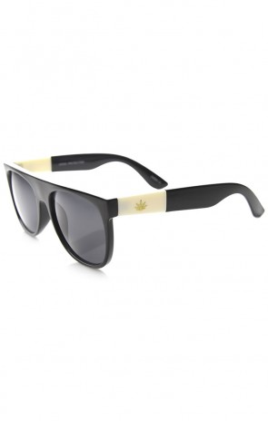 Retro Flat Top Gold Detailed Marijuana Weed Leaf Horn Rimmed Sunglasses