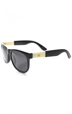 Classic Shape Gold Detailed Marijuana Weed Leaf Horn Rimmed Sunglasses