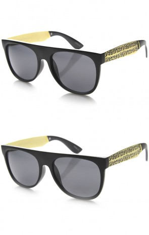 Retro Flat Top Egyptian Hieroglyphic Etched Metal Temple Sunglasses