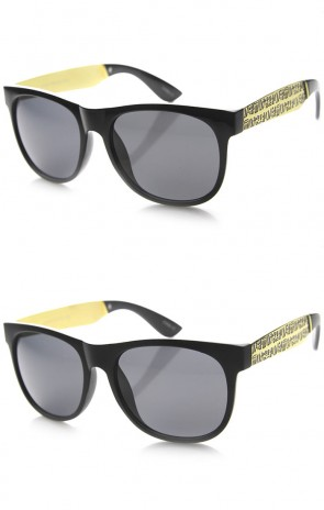 Retro Classic Shape Egyptian Hieroglyphic Etched Metal Temple Sunglasses