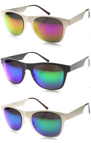 Retro Metal Flat Horned Rim Mirror Lenses Sunglasses