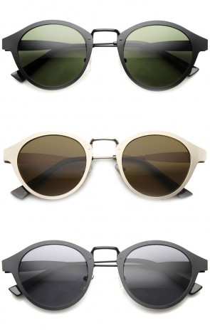 Retro Flat Metal Dapper  P-3 Horned Rim Sunglasses