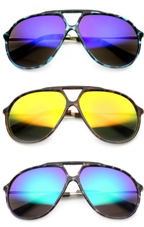 Plastic Large Retro Aviator Flash Lens Sunglasses with Metal Arms