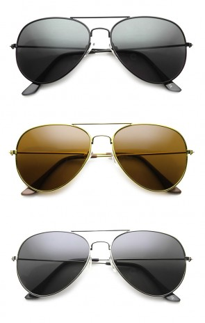 Classic Full Metal Teardrop Pilot Wire Frame Standard Aviator Sunglasses 58mm