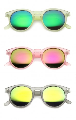 Colorful Frosted Retro P3 Flash Mirror Lens Horned Rim Round Sunglasses