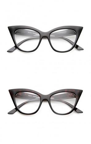 Women's High Pointed 60's Era Mod Fashion Clear Lens Cat Eye Glasses