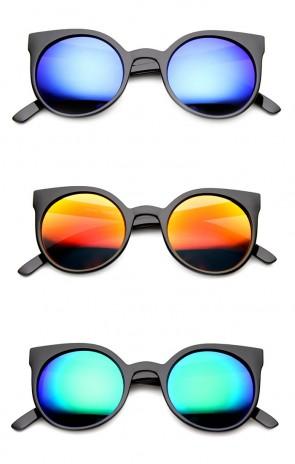 Women's Colorful Retro Flash Mirror Lens Round Cat Eye Sunglasses