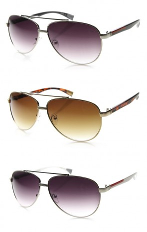 Mens Large Two Toned Metal Frame Colored Arms Aviator Sunglasses 63mm