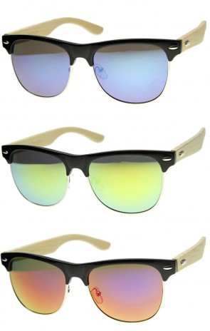 Mens Horn Rimmed Sunglasses With UV400 Protected Mirrored Lens