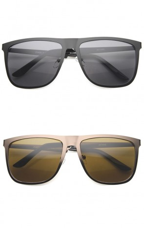 Mens Metal Horn Rimmed Sunglasses With UV400 Protected Gradient Lens