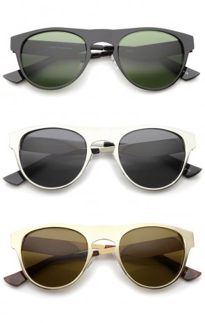 Mens Metal Horn Rimmed Sunglasses With UV400 Protected Composite Lens
