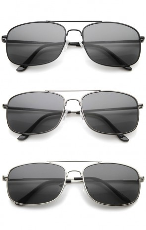 Mens Metal Aviator Sunglasses With UV400 Protected Composite Lens