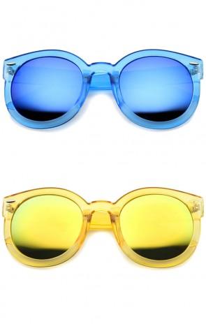 Bold Transparent Frame Color Mirror Oversize Lens Round Sunglasses 53mm