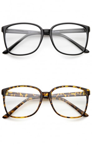 Contemporary Casual Oversize Thin Frame Clear Lens Square Glasses 57mm