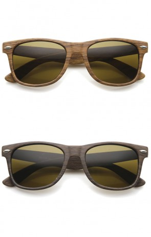 Classic Modern Wood Print Square Horn Rimmed Sunglasses 52mm