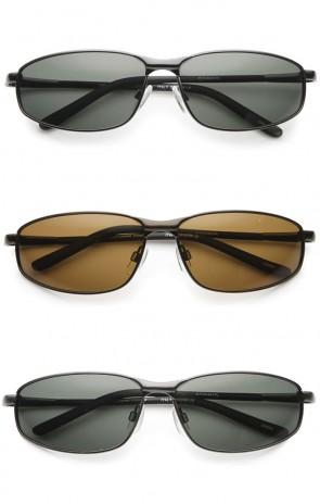 Men's Sport Metal Frame Thick Nose Bridge Polarized Lens Rectangle Sunglasses 63mm