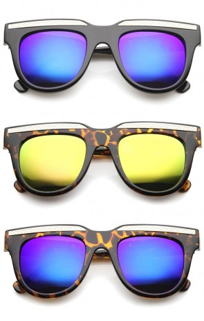 Retro Metal Accent Color Mirror Lens Horn Rimmed Oversize Sunglasses 50mm