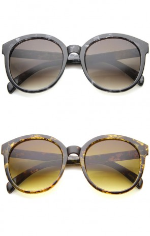 Women's Fashion Oversize Marble Print Horn Rimmed Round Sunglasses 55mm