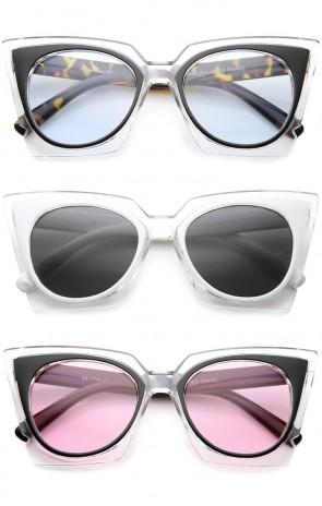 Women's Fashion Two-Tone Crystal Clear Edged Cat Eye Sunglasses 51mm