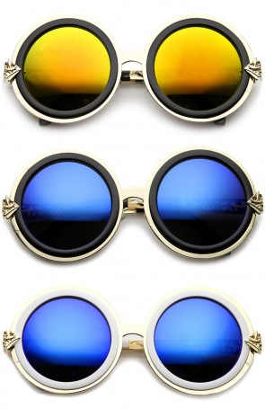 Bold Metal Ornate Cutout Temple Mirror Lens Round Sunglasses 54mm